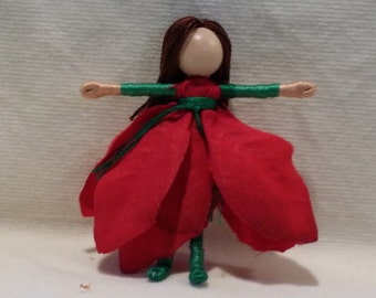 Waldorf Flower Fairy Doll - Christmas Fairy, Red Poinsettia Art Doll, big, bold striped stockings