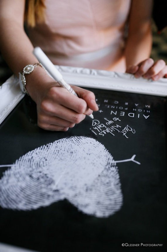 Chalkboard Wedding Fingerprints Guest Book Alternative with Your Heart Thumbprint Unique Black and White Guestbook Wedding Ideas