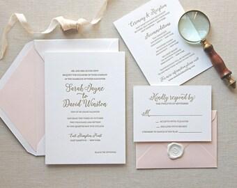 Letterpress Wedding Invitation - Magnolia Design - Foil, Calligraphy,Traditional, Elegant, Simple, Classic, Script, Destination, monogram