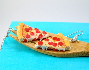 Pizza Earrings Food Jewelry MADE TO ORDER Pepperoni Pizza Earrings Food Earrings