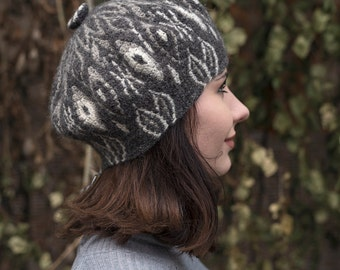 Crocheted Beret Hat -- Black and White II
