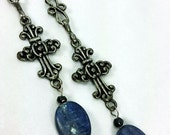 Blue Kyanite Filigree Cross Long Dangle Earrings