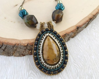 Mookaite Teardrop Bead Embroidery Necklace - Beadwork. Natural Stone. Cabochon. Boho. Elegant. Lightweight. OOAK. Vintage-Inspired. Pendant.