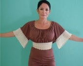 vintage 70's brown and cream lace peasant top romper