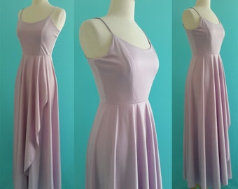 vintage 70's lavender dress // 1970's maxi dress // 70's disco dress