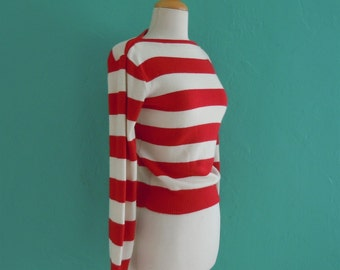 vintage 80's striped red and white sweater