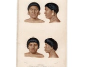 1861 SOUTH AMERICAN INDIANS engraving original antique culture print - male & female botocudo people