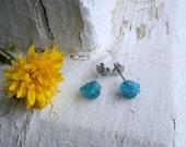 Sea Song. Genuine Rough Raw Apatite Specimens & titanium post earrings. Ear studs. simple delicate romantic