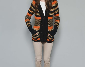 Vtg 70s Groovy Comfy Retro Striped Hippie Boho Novelty Cozy Pumpkin Fall Space Dyed Button Down Cardigan XS/S
