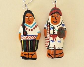 Vintage Guatemalan Pierced Earrings Hand Painted Papier Mache Guatemalan Man and Woman Earrings Sterling Ear Wires