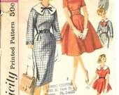 SIMPLICITY 3123 Size 12 Bust 32 Teen Basic Dress Slim Pencil Skirt Full Circle Skirt Sleeves Detachable Collars Vintage 1960's Pattern