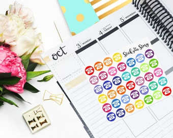Telephone Phone Icon Multicolor Student Vertical Planner Sticker Glossy - Stick to Your Story