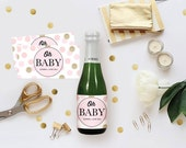 DIY Champagne Label - Baby Shower Wine Tag, Editable MS Word Template, Girl, Printable, Pink Polka Dots Digital Prints, Oh Baby Gold Glitter