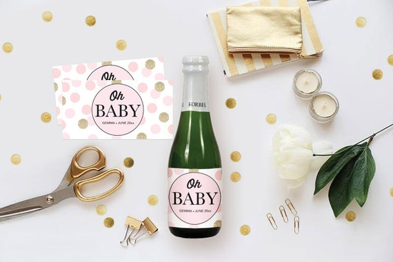 Diy Champagne Label Baby Shower Wine Tag Editable Ms