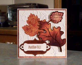 """Hello Fall Card - 5.5"""" x 5.5"""" - Stampin' Up For All Things - Die-Cut Leaves with Copper Detailing - Embossed Leaf Swirl Background - OOAK"""
