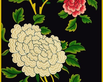 antique french chinoiserie  wallpaper pink and whites peonies black background illustration digital download