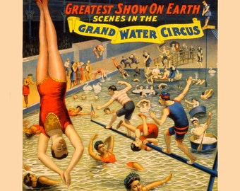 antique victorian barnum and bailey water circus poster acrobat diver illustration digital download