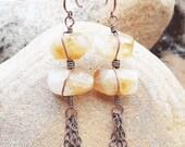 Bohemian chandelier earrings quartz earrings gypsy boho jewelry long boho earrings new age jewelry boho tribal earrings tribal jewelry