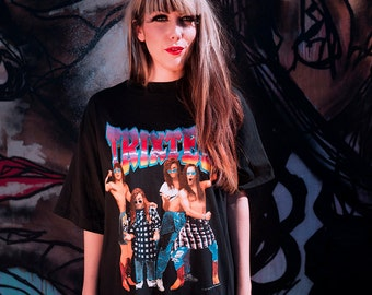 "Vtg. 1991 TRIXTER ""Kicked My Ass Live"" Heavy Rock Hair Glam Metal Black T-Shirt - Unisex - L Xl"