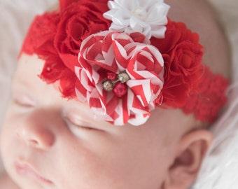 Red Elastic Headband, red flower headband, chevron headband, baby headband, flower girl headband, girl birthday gift, newborn headband,