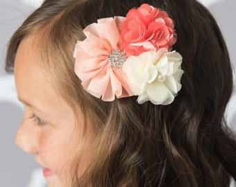 peach hair clip, coral hair clip, ivory hair clip, girl hair accessories, girl hair clip, flower hair clip, baby hair bow, girl hair bow