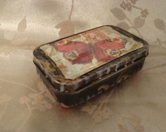 BUTTERfly Treasure Box, Recycled, ALTERED ALTOID TIN,  Gift Box, Trinket Box, Upcycle