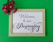 Wedding Sign, Welcome to our beginning Signage INSTANT DOWNLOAD, Wedding Reception 8 x 10