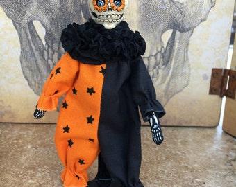 OOAK Day of the dead mini posable art doll dia de los muertos halloween clown sugar skull skeleton black orange spider web stars