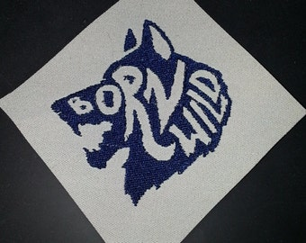 BORN WILD Wolf Furry fandom pride embroidered canvas jacket patch