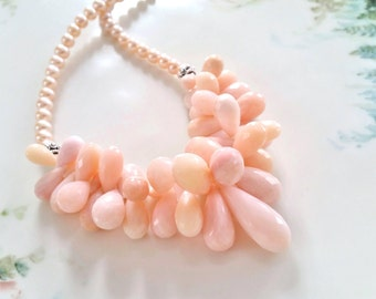 Pink Peruvian Opal Faceted Teardop Briolette Statement Necklace One of a Kind