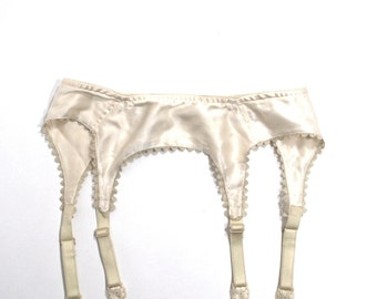 Vintage Ivory Lace and Satin Garter Belt Lingerie Lore Size XS/S