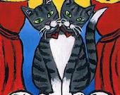 Acrylic Painting Original ACEO, Two Headed Cat, Circus Art, Halloween