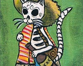 Day of the Dead Kitty  ACEO, Art Trading Card, Original Acrylic Painting SFA