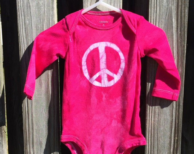 Featured listing image: Peace Sign Baby Gift, Girl Baby Gift, Pink Baby Gift, Pink Peace Baby Gift, Peace Baby Bodysuit, Baby Shower Gift, Baby Girl Gift (6 months)