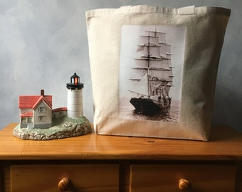 The Panay in the Boston Harbor Tote Bag - Vintage Photograph - Natural Canvas Bag - Carryall Tote - Shopping Bag - Vintage Boston Harbor