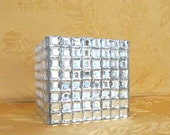 Rhinestone Covered Square Glass Bling Vase, Candle Holder, Makeup Brush Holder, Home Decor Container
