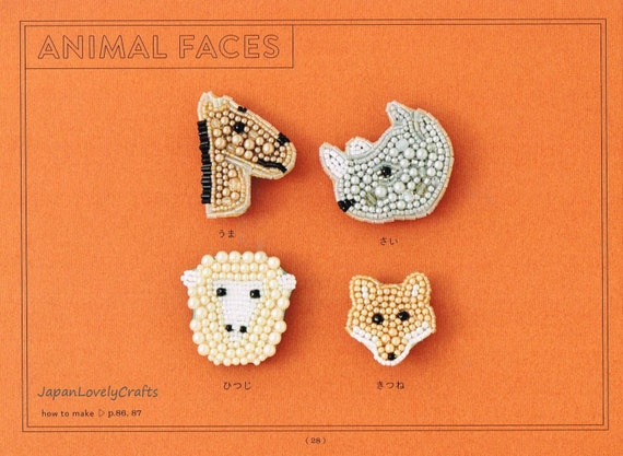 Bead embroidery brooch patterns japanese craft book