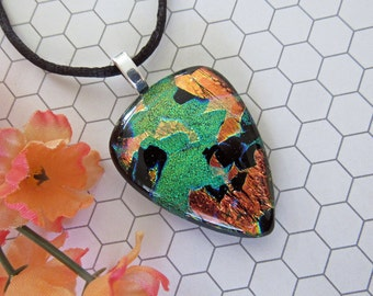 Copper and Green Dichroic Pendant and Necklace - Fused Glass Jewelry - Striking Accessory Gift For Her - 58-16