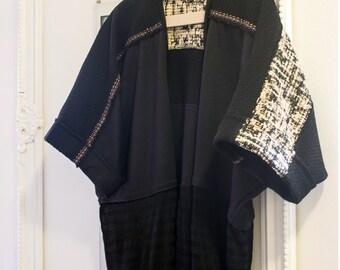 TiKa Black Kimono Jacket / Minimalist Double-knit & wool blend kimono sweater / Sustainable fashion