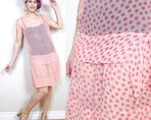 50% OFF SALE Vintage 1920s Flapper Dress Pink Polka Dot Dress Drop Waist Dress Crepe Shift Semi Sheer Layered Slip Sleeveless Dress (XS/S)