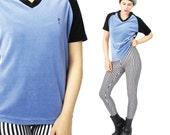 1990s GUESS Velvet Tshirt Baseball Tee Blue Velvet Top Raglan Sleeve V Neck Navy Blue Stretch Velvet Tshirt Sporty Club Kid Shirt (M/L)