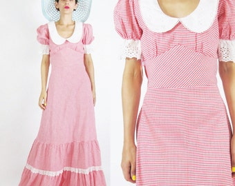 40% OFF SALE 1970s Deadstock Dress Gingham Cotton Dress Ruffle Lace Maxi Dress Eyelet Prairie Gunne Sax Style Dress Peter Pan Collar (XS/S)
