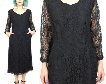 30% OFF SALE 1950s Black Lace Dress Black Long Sleeve Dress Sheer Sleeve Wiggle Dress Scalloped Neckline Cocktail Party Dress Pockets  E302