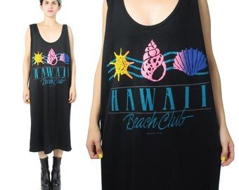 80s 90s HAWAII Beach Dress Neon Puffy Paint Black Tank Dress Tshirt Cotton Dress Summer Vacation Sea Shell Screen Printed Dress (L/XL)
