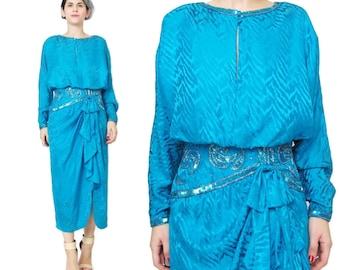 1980s Sequin Party Dress Long Sleeve Silk Dress Turquoise Silk Dress Rhinestones Beaded Draped Bow Dress Batwing Dress Neiman Marcus S E708