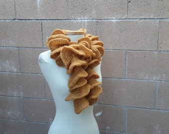 Golden Ruffle Scarf | Frilly Amber Scarf with Gold Threads