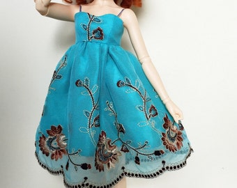 Turquoise lace dress for MNF Minifee BJD