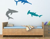 Sharks Wall Decal Set - Bull Shark - Hammerhead - SawShark - Boy Bedroom Wall Stickers - Extra Large Set of 3