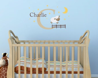 Sheep, Initial & Name Decal Set - Nursery Wall Decal - Moon and Stars - Sheep Wall Sticker - Medium