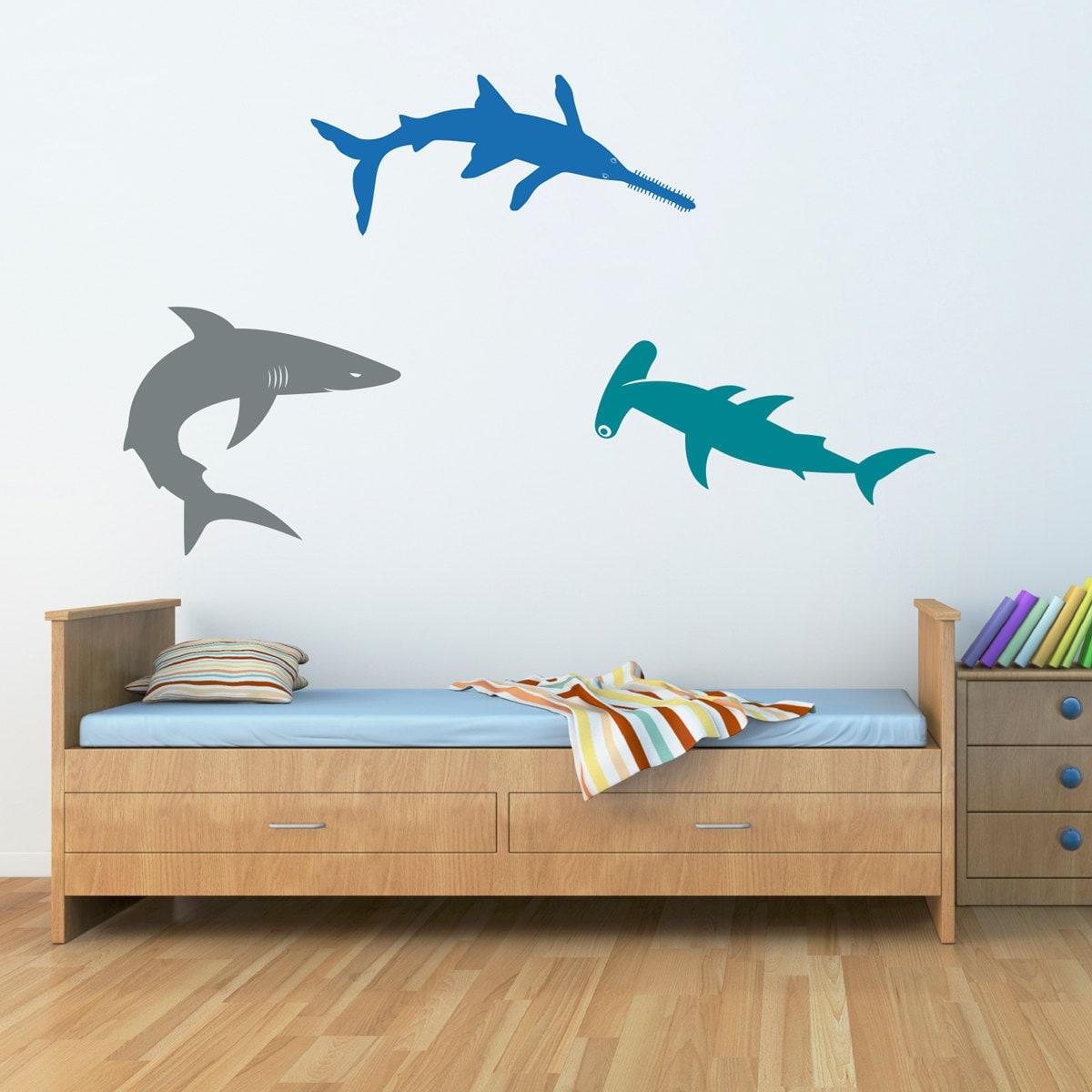 sharks wall decal set bull shark hammerhead sawshark. Black Bedroom Furniture Sets. Home Design Ideas